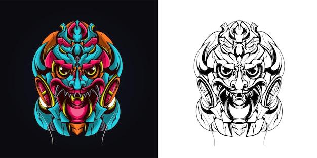 Ilustracja grafiki kultury balijskiej barong