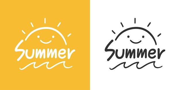 Ilustracja grafiki wektorowej ręcznie rysowane letnie słońce i morze do projektowania.