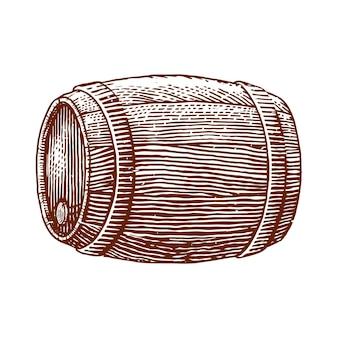 Ilustracja grawerowanie beczki wina