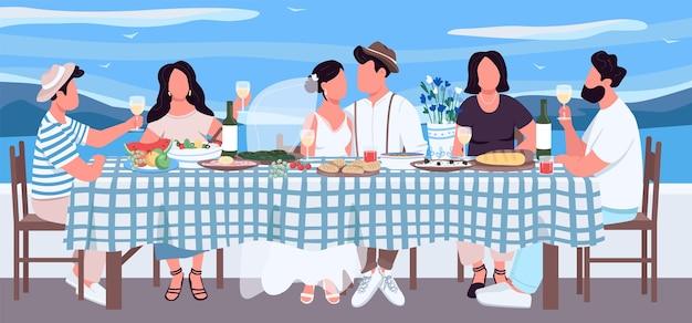 Ilustracja grecki ślub płaski kolor. pan młody i panna młoda przy stole z przyjaciółmi. bankiet na uroczysty obiad. świętujcie razem. względne postaci z kreskówek 2d z krajobrazem w tle