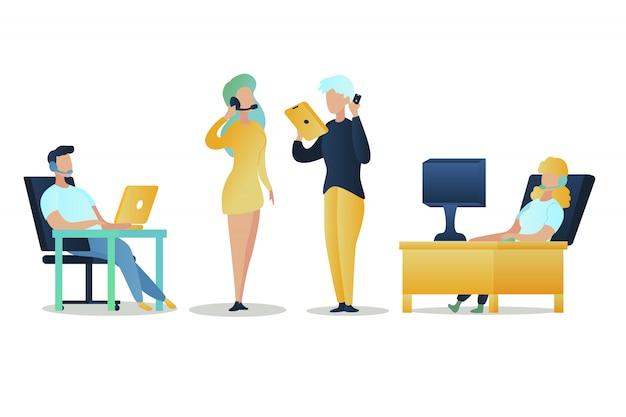 Ilustracja grupa ludzie call center pracownik sklep