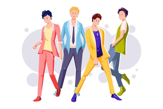 Ilustracja grupy chłopca k-pop