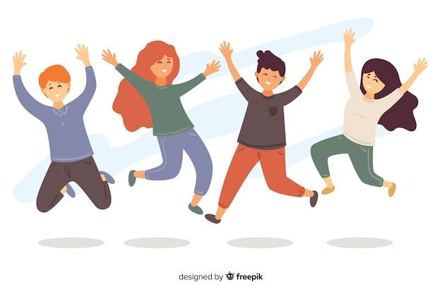 Ilustracja grupy młodych ludzi skaczących