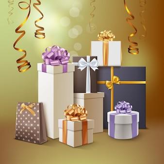 Ilustracja grupy prezentów. pudełka na prezenty z wstążkami i kokardkami na białym tle na złotym tle