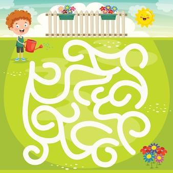 Ilustracja gry labirynt dla dzieci