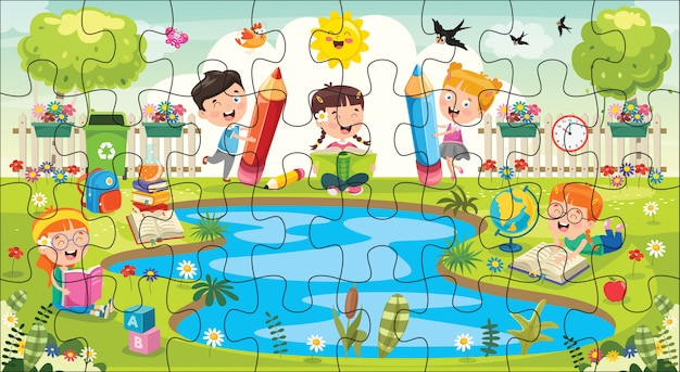Ilustracja gry logicznej dla dzieci