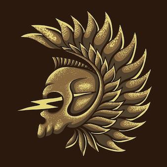 Ilustracja grzmot skrzydła czaszki