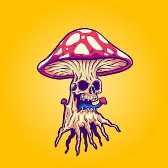 Ilustracja grzyb czaszki