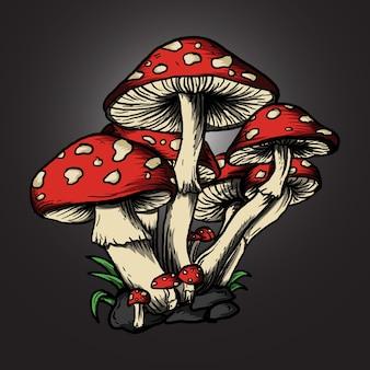 Ilustracja grzybów