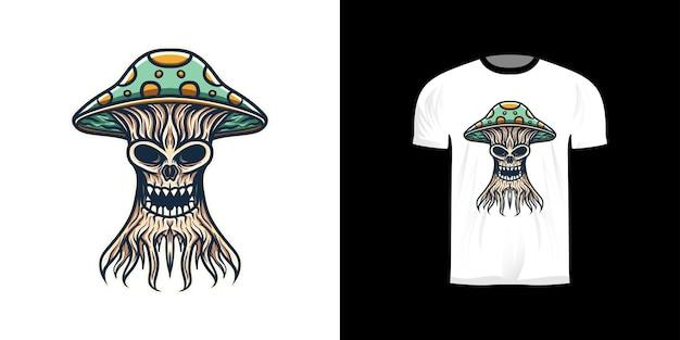 Ilustracja grzybowych potworów na projekt koszulki
