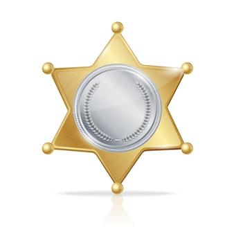Ilustracja gwiazda odznaka szeryfa z dwóch metali
