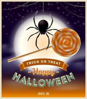 Ilustracja halloween - pająk z cukierkiem lizak i projekt typu na tle nocy w pełni księżyca