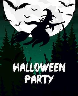 Ilustracja halloween party zaproszenie lub kartkę z życzeniami. sylwetka czarownicy, miotły, nietoperza i księżyc są na tle ciemnego nieba.