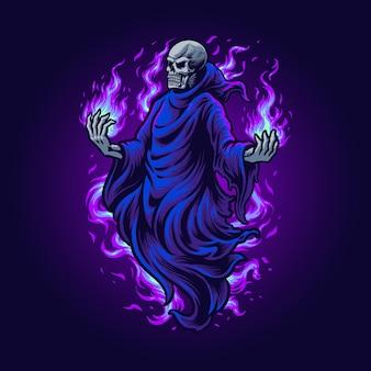 Ilustracja halloween ponurego żniwiarza