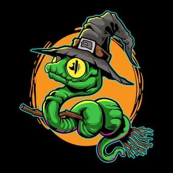 Ilustracja halloween węża czarownicy