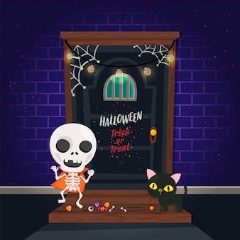 Ilustracja. halloweenowy plakat z śliczną postacią na cegle i strasznych drzwiach. szablon cukierek albo psikus.
