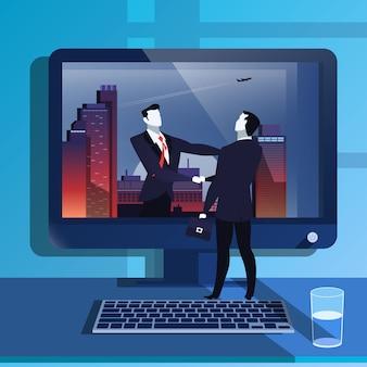 Ilustracja handclasp biznesmenów