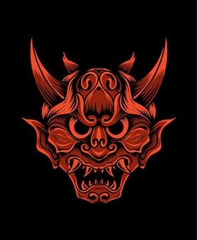 Ilustracja hannya tradycyjna japońska maska demon oni