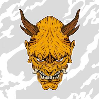 Ilustracja hannya tradycyjny japoński demon oni maska złota
