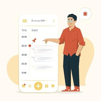 Ilustracja harmonogram koncepcji zarządzania czasem