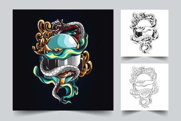 Ilustracja hełm i wąż maskotka