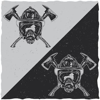 Ilustracja hełmów ze skrzyżowanymi osiami