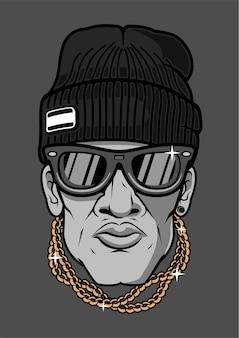 Ilustracja hip hop man w wyciągnąć rękę