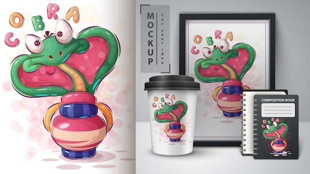 Ilustracja hipnozy kobry i merchandising
