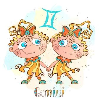 Ilustracja horoskop dla dzieci. zodiak dla dzieci. znak gemini