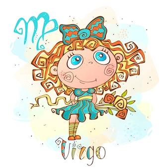 Ilustracja horoskop dla dzieci. zodiak dla dzieci. znak panny