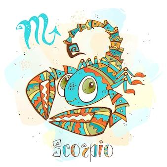 Ilustracja horoskop dla dzieci. zodiak dla dzieci. znak skorpiona