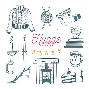 Ilustracja hygge z przytulnymi elementami na sezon zimowy.