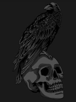 Ilustracja i projekt koszulki kruk i czaszka