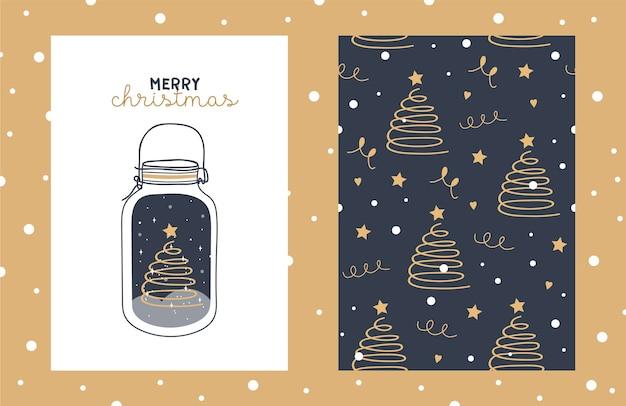 Ilustracja i wzór z uroczym drzewem chritmas w szklanym słoju z gwiazdami i płatkami śniegu.