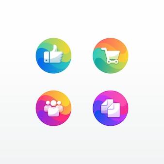 Ilustracja icon pack web e-commerce kciuk wykres ludzie i dokumenty w kolorowym stylu