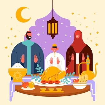 Ilustracja iftar z ludźmi jedzącymi posiłek