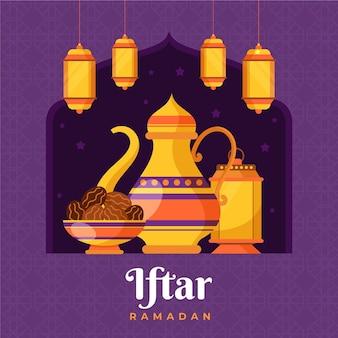 Ilustracja iftar z posiłkami i lampionami