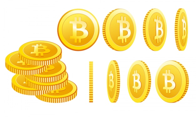 Ilustracja ikon bitcoin na białym tle w różnych pozycjach. prosta kryptowaluta symbol w płaskim stylu cartoon.