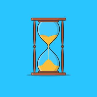 Ilustracja ikona klepsydry piasku. ikona klepsydry. sand timer. zegar z klepsydrą