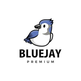 Ilustracja ikona logo kreskówka ładny niebieski jay