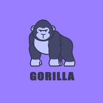 Ilustracja ikona logo ładny goryl