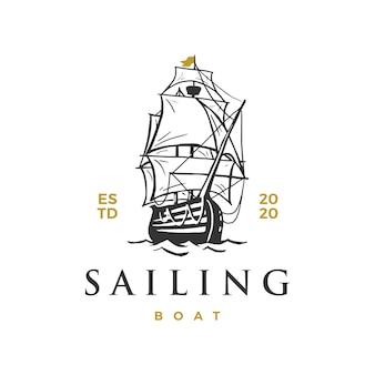 Ilustracja ikona logo łódź żaglowa