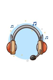 Ilustracja ikona muzyki słuchawek