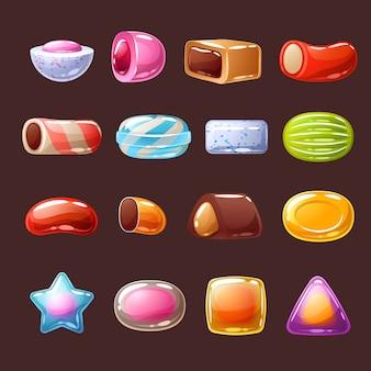 Ilustracja ikony kolorowe cukierki słodycze.