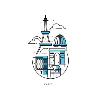 Ilustracja ikony linii paryża