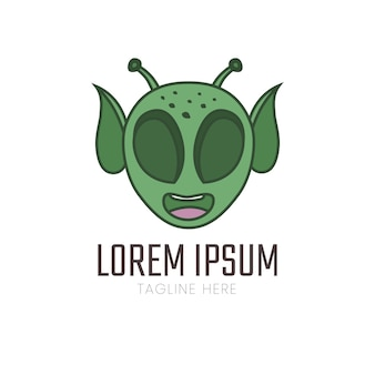 Ilustracja ikony logo głowy obcych
