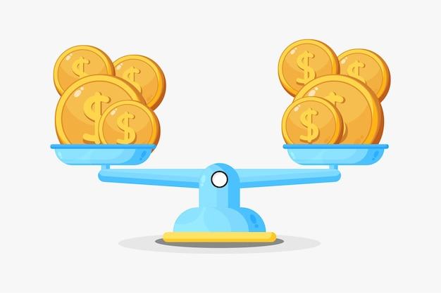 Ilustracja ikony pieniędzy na skali