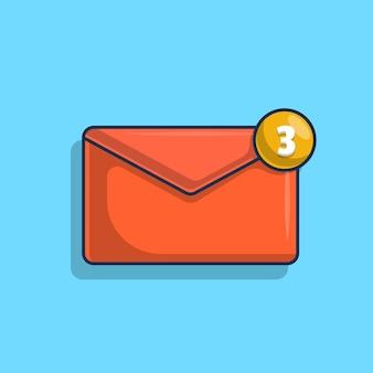 Ilustracja ikony powiadomienia o wiadomości przychodzącej
