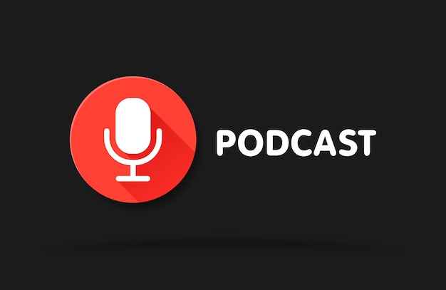 Ilustracja ikony radia podcast. mikrofon stołowy studyjny z nadawanym tekstem. webcast koncepcja nagrania audio w sieci web.