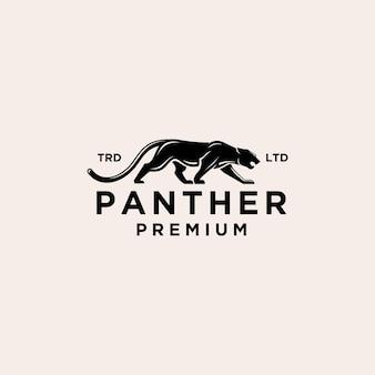 Ilustracja ikony vintage logo pantera